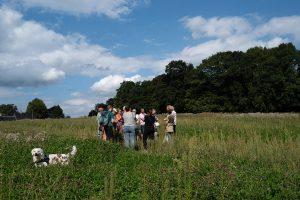 groep mensen die uitleg krijgen over het voedselbos